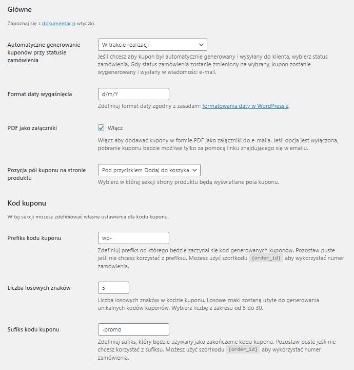 Kupony i Vouchery PDF PRO WooCommerce Ustawienia wtyczki