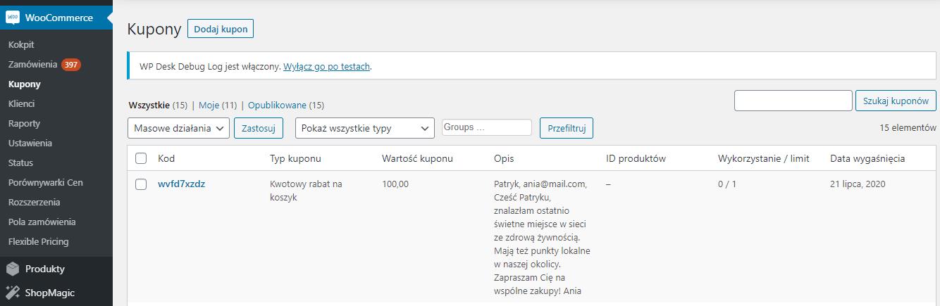 Edycja kuponu WooCommerce - widok kuponów WooCommerce