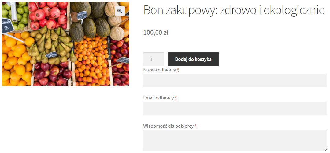 Karta podarunkowa na zakupy lokalne w WooCommerce