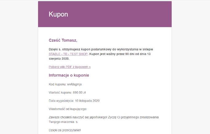 Email z kartą podarunkową PDF WooCommerce