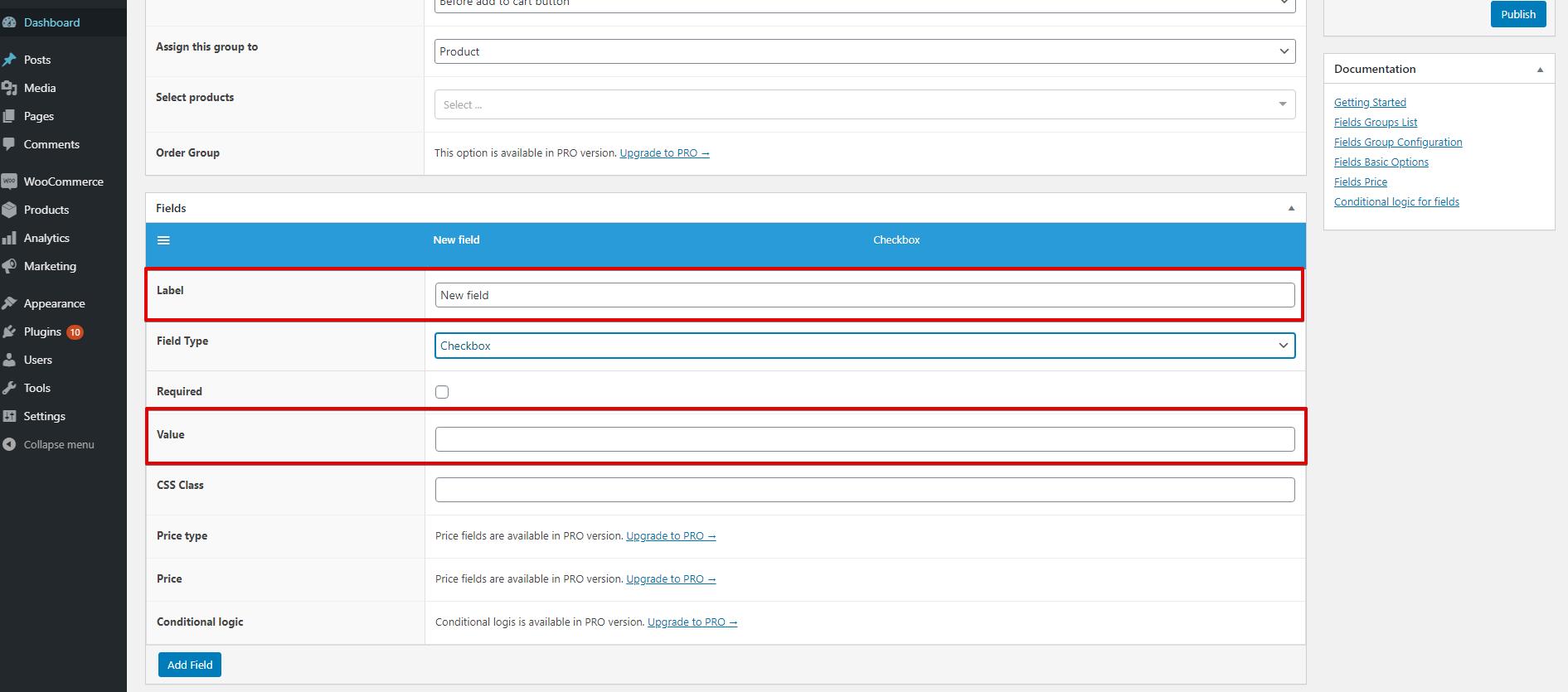 WooCommerce Flexible Product Fields WPML checkbox