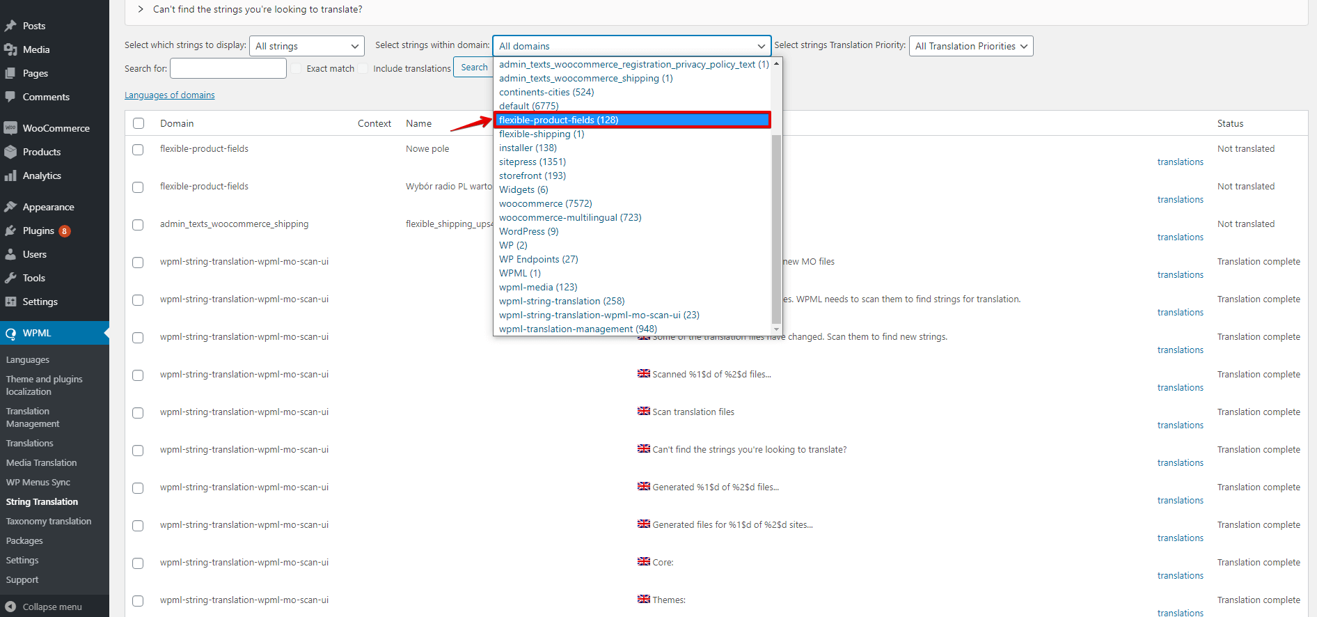 WooCommerce Flexible Product Fields WPML select strings with domain