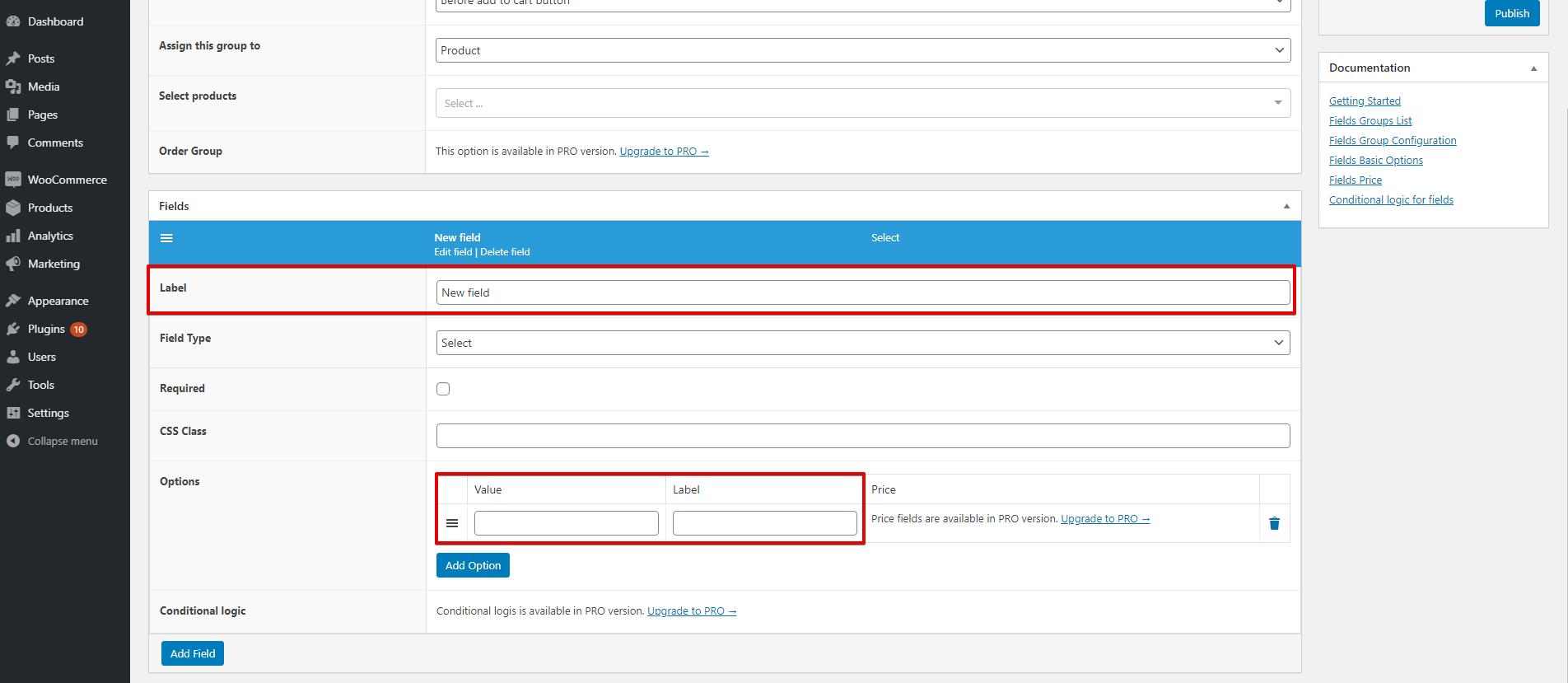 WooCommerce Flexible Product Fields WPML select
