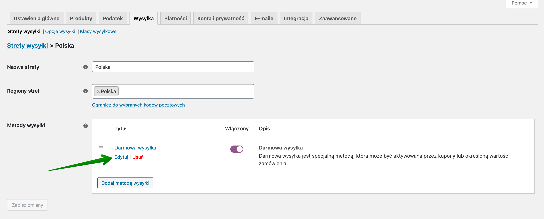 Darmowa wysyłka WooCommerce - Darmowa wysyłka dodana