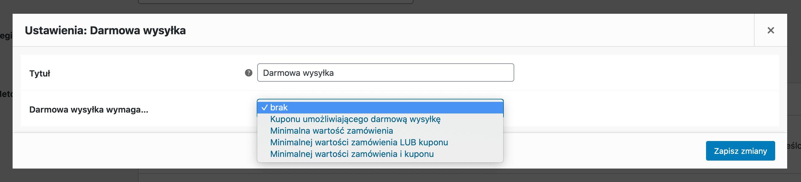 Darmowa wysyłka w WooCommerce - Darmowa wysyłka ustawienia