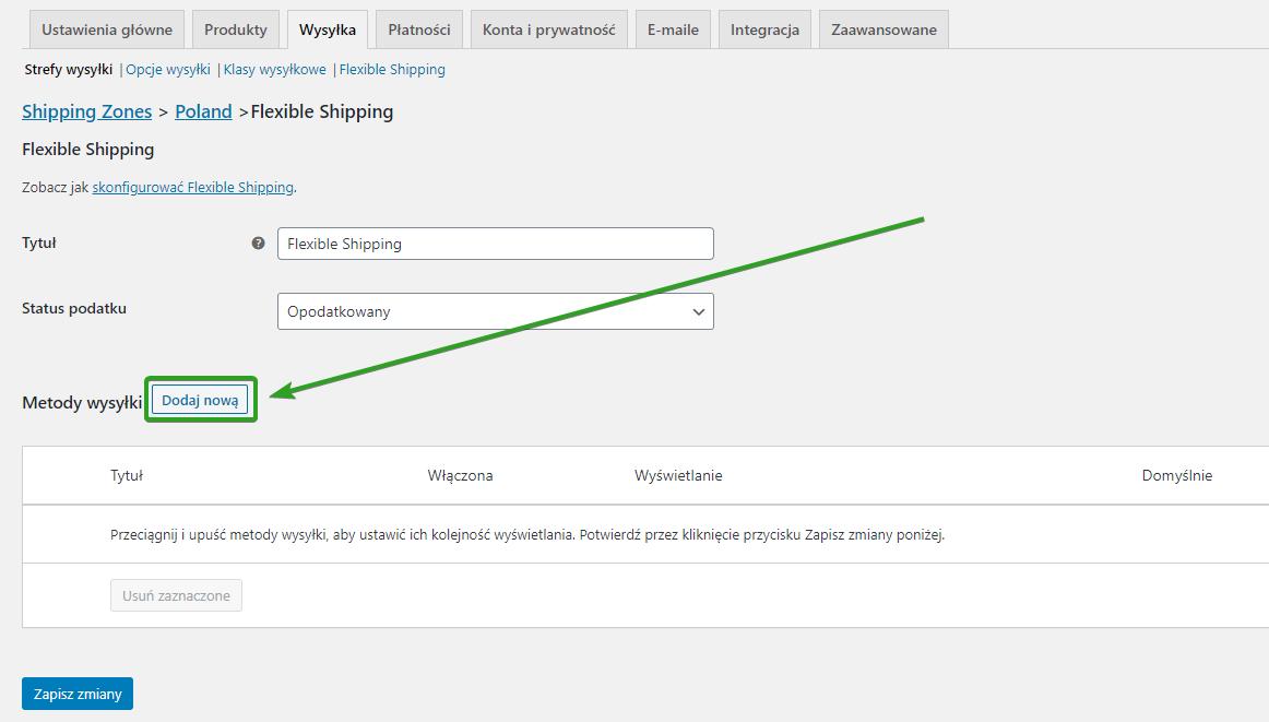 Dodaj nową metode wysyłki typu Flexible Shipping