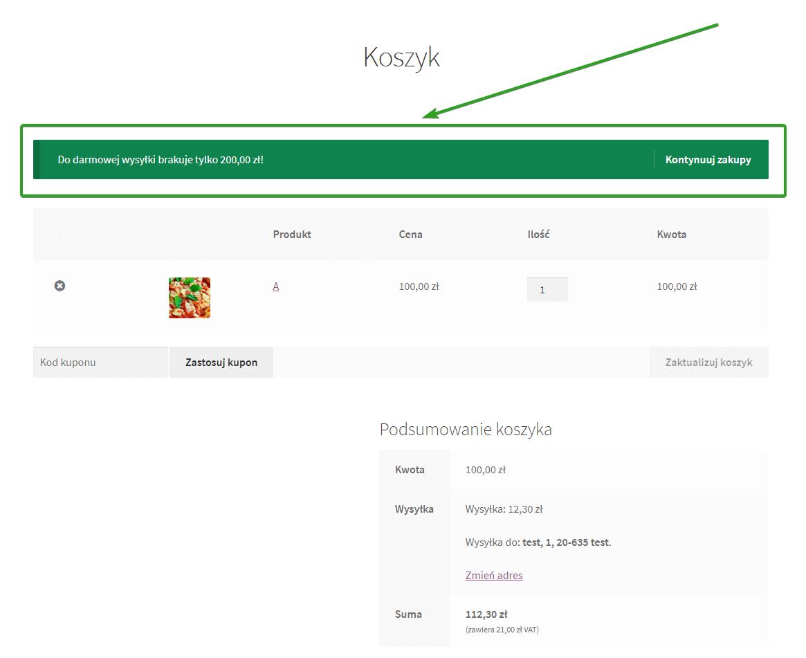 kwota brakująca do darmowej wysyłki w WooCommerce