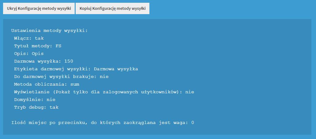 Pokaż konfigurację metody wysyłki