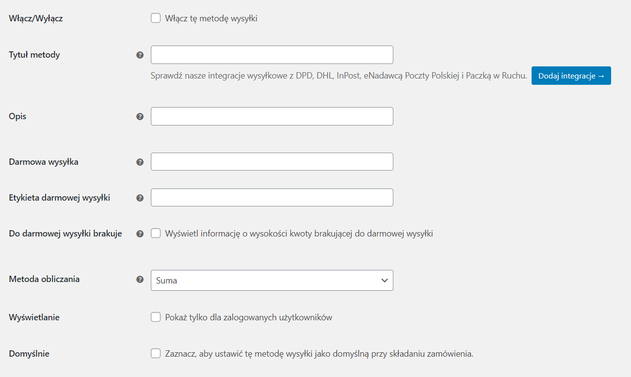Ustawienia metody wysyłki Flexible Shipping