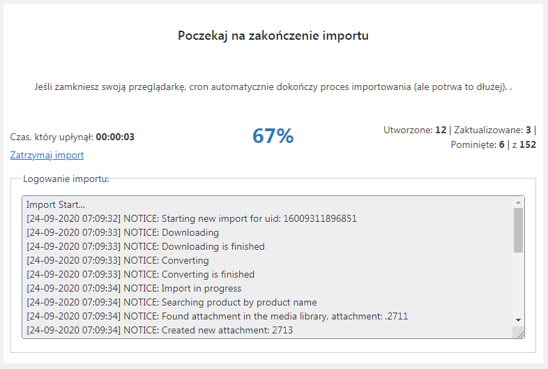 Proces importu i komunikaty procesu importu we wtyczce Dropshipping XML WooCommerce