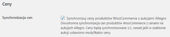 Synchronizacja cen Allegro