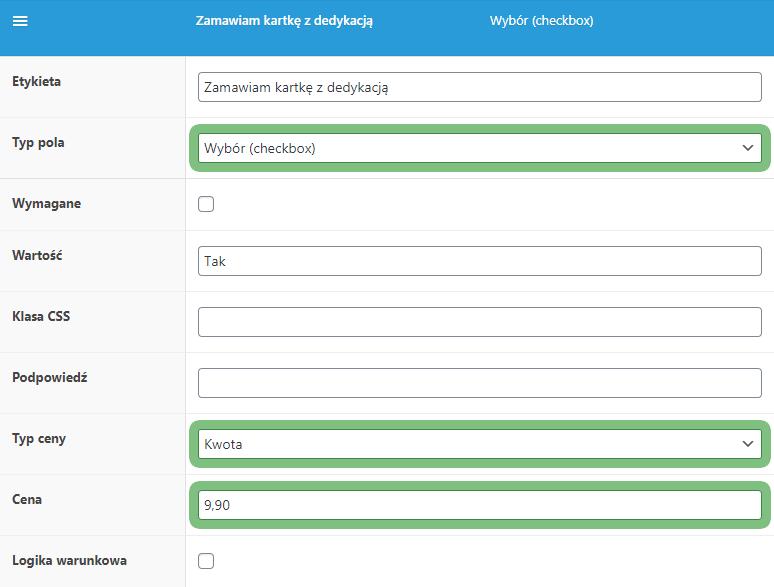 FPF Checkbox - zamawiam kartkę z dedykacją