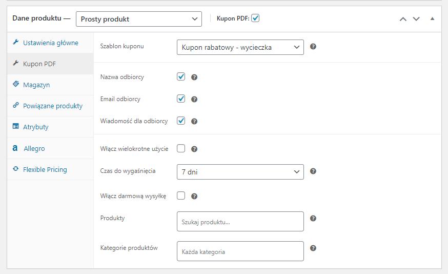 Kupon PDF wielorazowy voucher i warunki dla kuponu WooCommerce