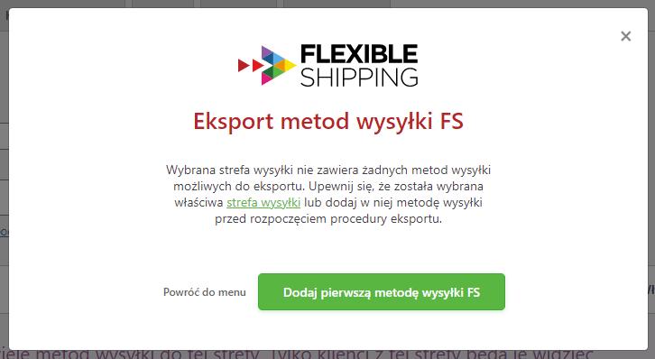 brak metod wysyłki do eksportu