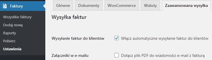 Faktury WooCommerce Zaawansowana Wysyłka ustawienia