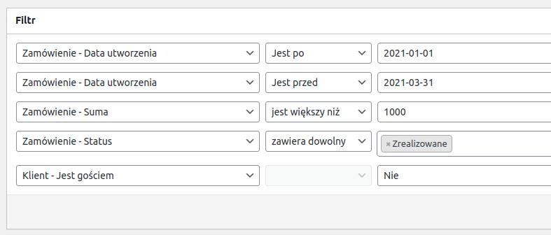 Grupowanie filtrów