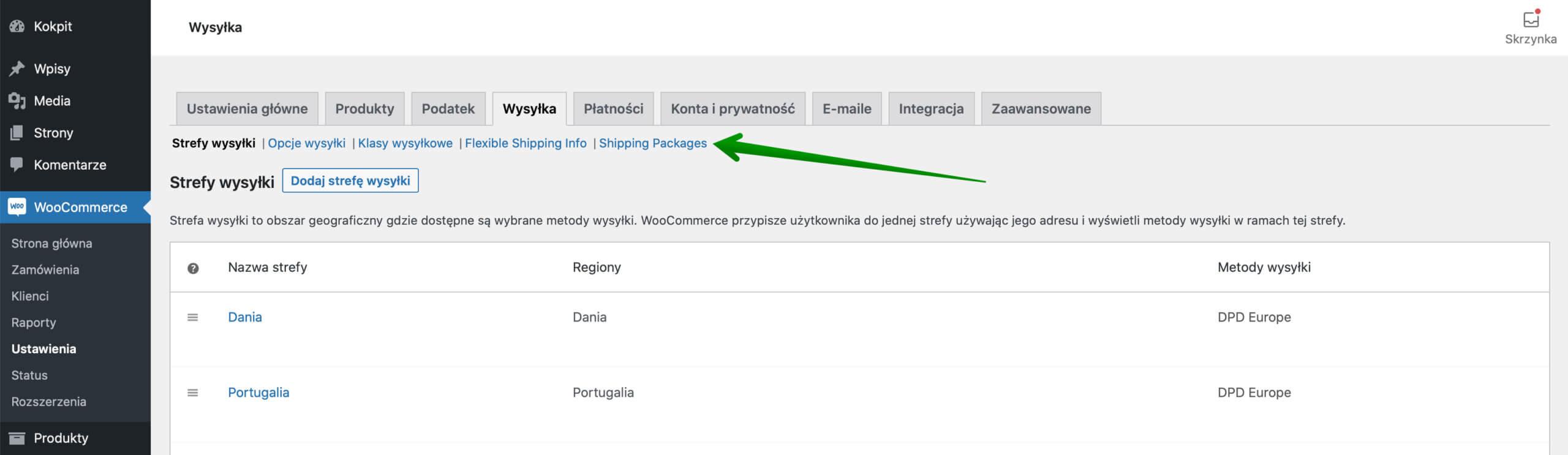 Ustawienia wysyłki WooCommerce - Shipping Packages