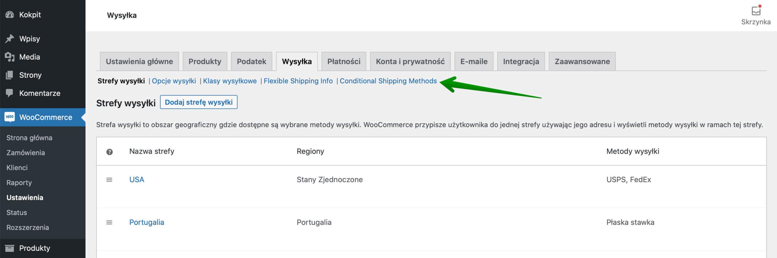 Ustawienia wysyłki WooCommerce - link Conditional Shipping Methods