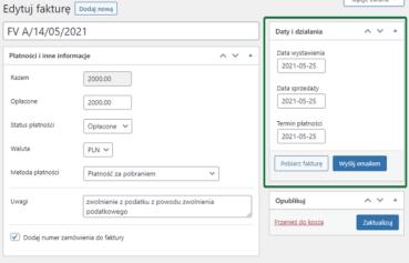 Data sprzedaży podczas modyfikacji faktur woocommerce