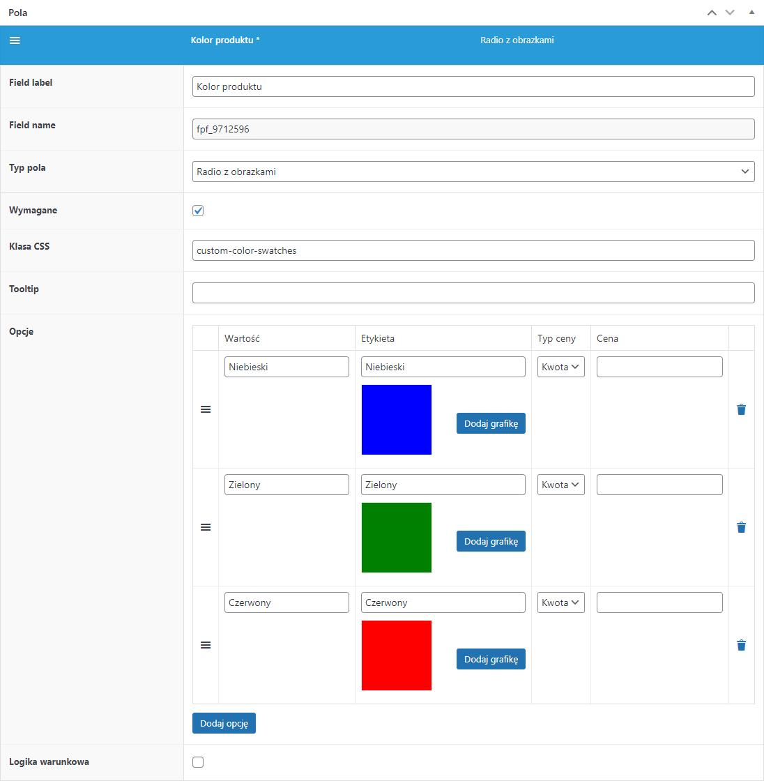 Flexible Product Fields - konfiguracja pola