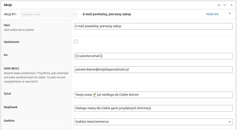 Email powitalny akcja