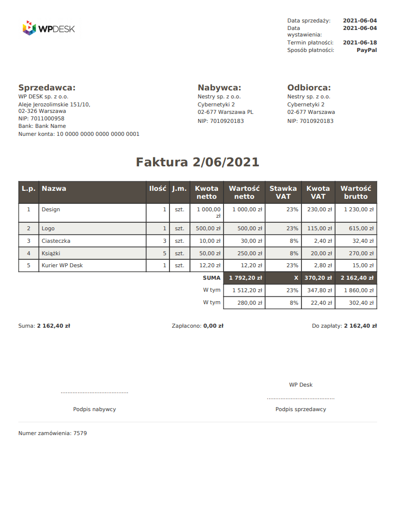 Szablon faktury PDF WooCommerce