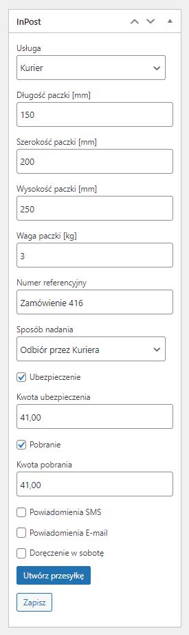 WooCommerce InPost - Nadawanie paczki w edycji zamówienia