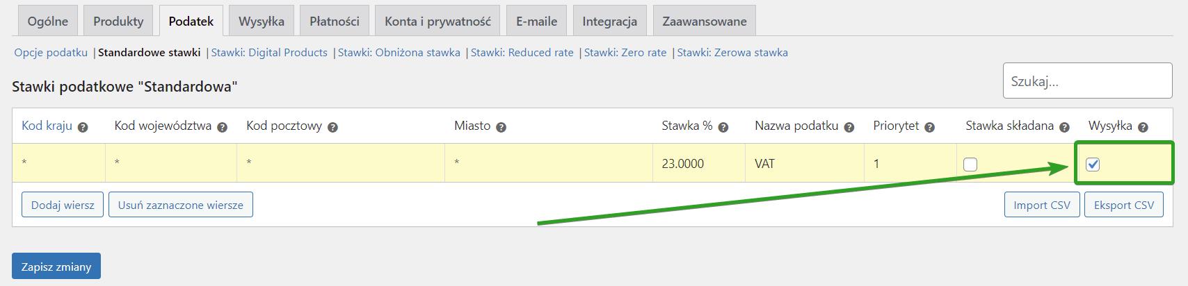 status podatkowy dla wysyłki w WooCommerce