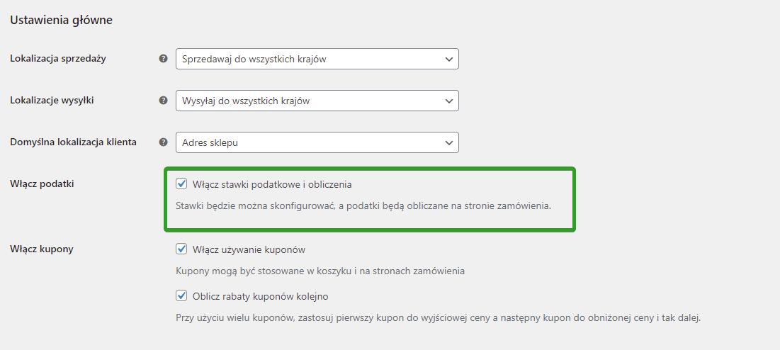 Włącz stawki podatkowe i obliczenia w WooCommerce