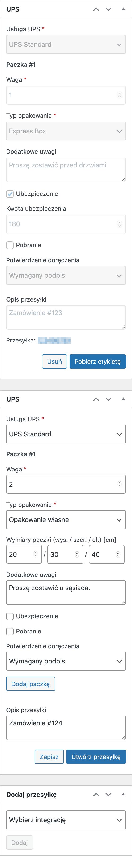 UPS Etykiety nadawcze i śledzenie przesyłek - Dodatkowe przesyłki UPS