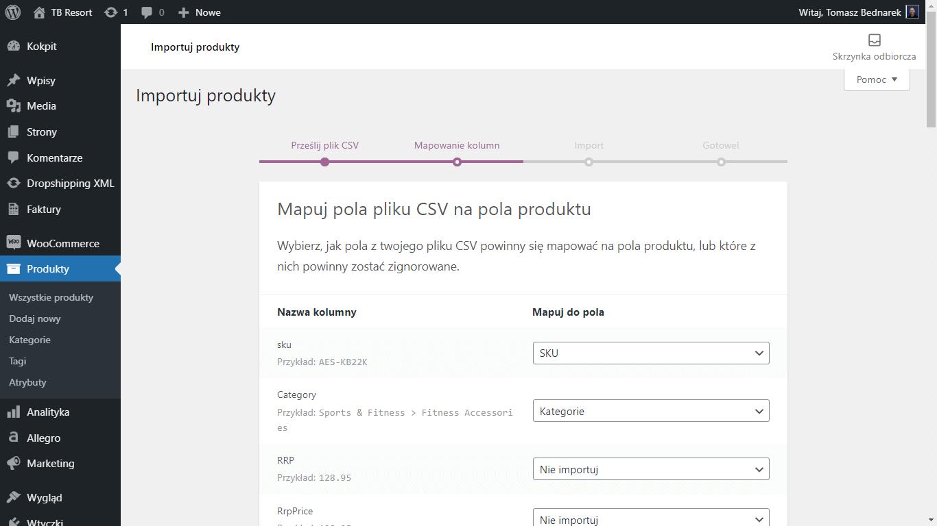 Mapuj pola pliku CSV na pola produktów WooCommerce