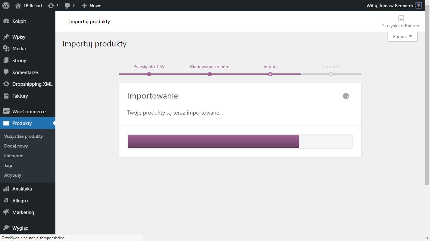 WooCommerce - wbudowany proces masowego importu produktów